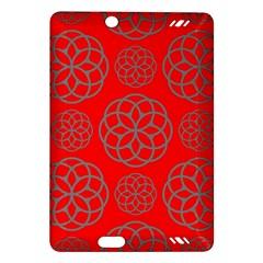 Geometric Circles Seamless Pattern On Red Background Amazon Kindle Fire Hd (2013) Hardshell Case by Simbadda