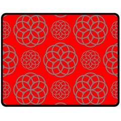 Geometric Circles Seamless Pattern On Red Background Double Sided Fleece Blanket (medium)  by Simbadda