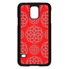 Geometric Circles Seamless Pattern On Red Background Samsung Galaxy S5 Case (black) by Simbadda
