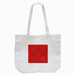 Geometric Circles Seamless Pattern On Red Background Tote Bag (white) by Simbadda
