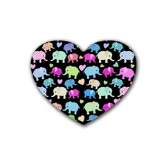 Cute Elephants  Heart Coaster (4 Pack)  by Valentinaart