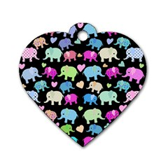 Cute Elephants  Dog Tag Heart (one Side) by Valentinaart