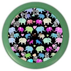 Cute Elephants  Color Wall Clocks by Valentinaart