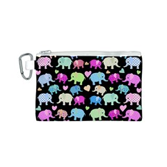 Cute Elephants  Canvas Cosmetic Bag (s) by Valentinaart