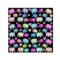 Cute Elephants  Small Satin Scarf (square) by Valentinaart