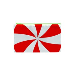 Candy Red White Peppermint Pinwheel Red White Cosmetic Bag (xs) by Alisyart