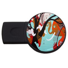 Colorful Graffiti In Amsterdam Usb Flash Drive Round (2 Gb) by Simbadda