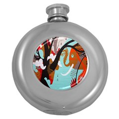 Colorful Graffiti In Amsterdam Round Hip Flask (5 Oz) by Simbadda