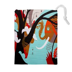 Colorful Graffiti In Amsterdam Drawstring Pouches (extra Large) by Simbadda