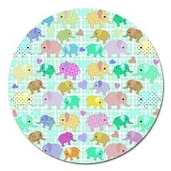 Cute Elephants  Magnet 5  (round) by Valentinaart