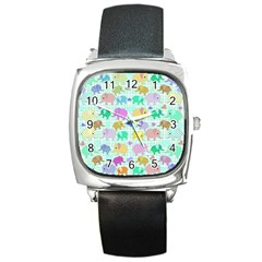 Cute Elephants  Square Metal Watch by Valentinaart