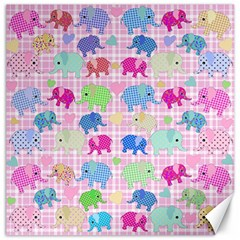 Cute Elephants  Canvas 12  X 12   by Valentinaart