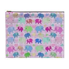 Cute Elephants  Cosmetic Bag (xl) by Valentinaart