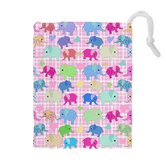 Cute Elephants  Drawstring Pouches (extra Large) by Valentinaart