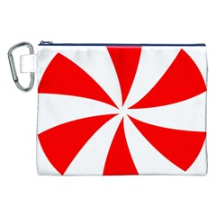 Candy Red White Peppermint Pinwheel Red White Canvas Cosmetic Bag (xxl) by Alisyart
