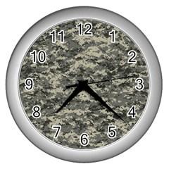 Us Army Digital Camouflage Pattern Wall Clocks (silver)  by Simbadda