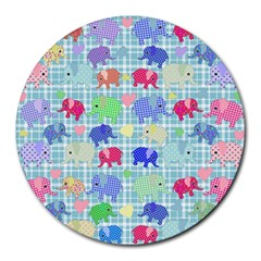 Cute Elephants  Round Mousepads by Valentinaart