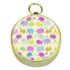 Cute Elephants  Gold Compasses by Valentinaart