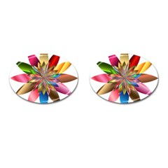 Chromatic Flower Gold Rainbow Cufflinks (oval) by Alisyart