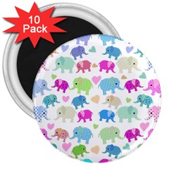 Cute Elephants  3  Magnets (10 Pack)  by Valentinaart