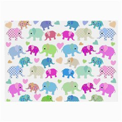Cute Elephants  Large Glasses Cloth (2 Side) by Valentinaart