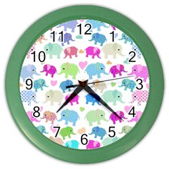 Cute Elephants  Color Wall Clocks by Valentinaart