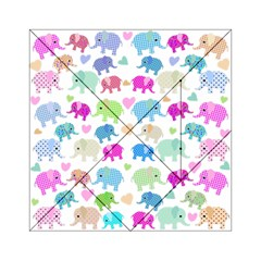 Cute Elephants  Acrylic Tangram Puzzle (6  X 6 ) by Valentinaart