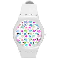 Cute Elephants  Round Plastic Sport Watch (m) by Valentinaart