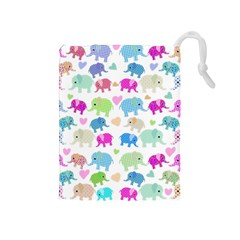 Cute Elephants  Drawstring Pouches (medium)  by Valentinaart