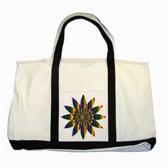 Chromatic Flower Gold Rainbow Star Light Two Tone Tote Bag by Alisyart