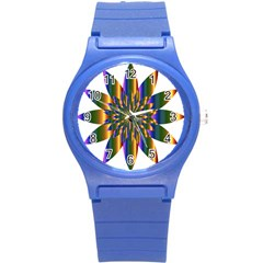 Chromatic Flower Gold Rainbow Star Light Round Plastic Sport Watch (s) by Alisyart