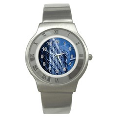 Building Architectural Background Stainless Steel Watch by Simbadda