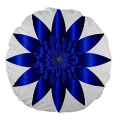 Chromatic Flower Blue Star Large 18  Premium Flano Round Cushions by Alisyart