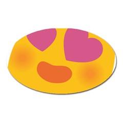 Emoji Face Emotion Love Heart Pink Orange Emoji Oval Magnet by Alisyart