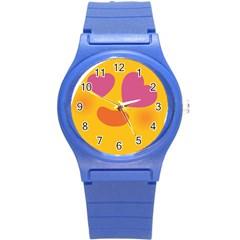 Emoji Face Emotion Love Heart Pink Orange Emoji Round Plastic Sport Watch (s) by Alisyart