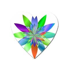 Chromatic Flower Variation Star Rainbow Heart Magnet by Alisyart