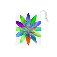 Chromatic Flower Variation Star Rainbow Drawstring Pouches (small)  by Alisyart