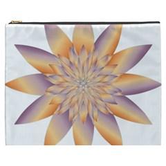 Chromatic Flower Gold Star Floral Cosmetic Bag (xxxl)  by Alisyart