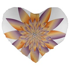 Chromatic Flower Gold Star Floral Large 19  Premium Flano Heart Shape Cushions by Alisyart