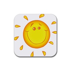 Domain Cartoon Smiling Sun Sunlight Orange Emoji Rubber Square Coaster (4 Pack)  by Alisyart