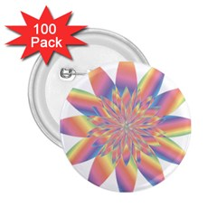 Chromatic Flower Gold Rainbow Star 2 25  Buttons (100 Pack)  by Alisyart