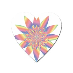 Chromatic Flower Gold Rainbow Star Heart Magnet by Alisyart