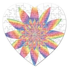 Chromatic Flower Gold Rainbow Star Jigsaw Puzzle (heart) by Alisyart