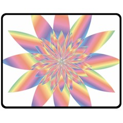 Chromatic Flower Gold Rainbow Star Fleece Blanket (medium)  by Alisyart