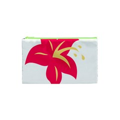 Flower Floral Lily Blossom Red Yellow Cosmetic Bag (xs) by Alisyart