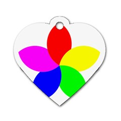 Fan Star Floral Dog Tag Heart (one Side) by Alisyart