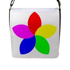 Fan Star Floral Flap Messenger Bag (l)  by Alisyart