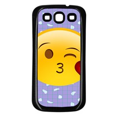 Face Smile Orange Red Heart Emoji Samsung Galaxy S3 Back Case (black) by Alisyart