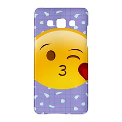 Face Smile Orange Red Heart Emoji Samsung Galaxy A5 Hardshell Case  by Alisyart