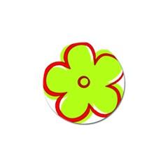 Flower Floral Red Green Golf Ball Marker by Alisyart
